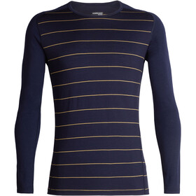 Icebreaker 200 Oasis Deluxe Raglan LS Crew Shirt Men Midnight Navy/Ginger/Stripe
